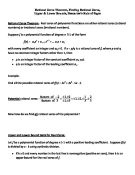 Rational Zeros Theorem, Finding Rational Zeros, Bounds, Descartes Rule of Signs