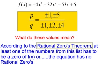 Rational Zero's Theorem 4 Lessons, Multiple Assignments fo