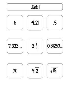 Rational and Irrational Number Sort