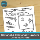 Rational and Irrational Numbers Doodle Sheet Coloring Math Notes