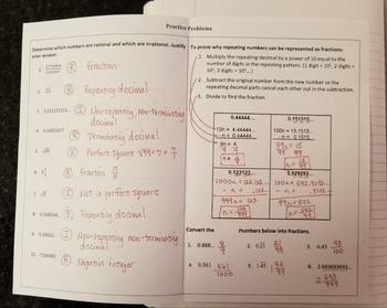 Rational and Irrational Numbers (Foldables)