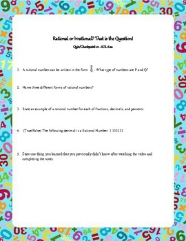 Rational and Irrational Numbers Complete Intro Lesson