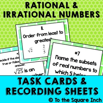 Rational and Irrational Numbers Task Cards | TpT