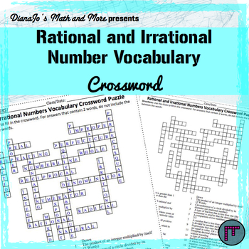Rational and Irrational Numbers Vocabulary Crossword