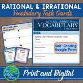 Rational and Irrational Vocabulary Task Cards