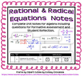 Rational and Radical Equations Notes for Algebra 2 (Complete Unit)