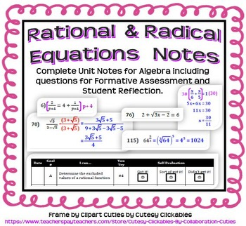Rational and Radical Equations Notes for Algebra 2 (Comple