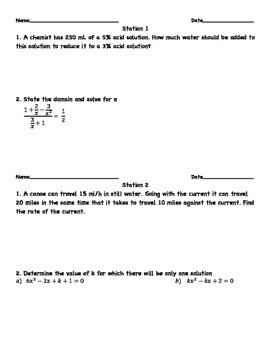 Rational and Radical Equations Station Activity