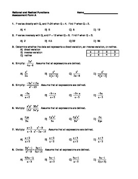 Rational and Radical Functions Assessment