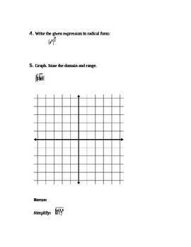 Rational and Radical Functions Test