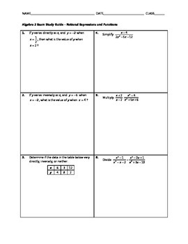 Rational and Radical Functions Test BUNDLE