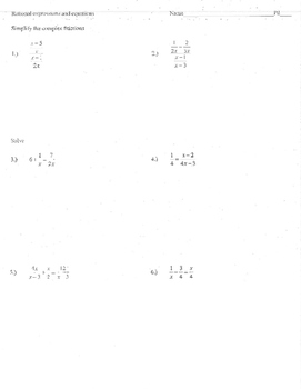 complex fraction worksheet for algebra  teaching resources  rational expressions equations simplify complex fractions functions  asymptote rational expressions equations simplify complex fractions  functions asymptote