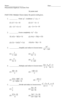 Rational expressions unit test