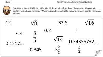 Rational or Irrational?  A PowerPoint Lesson and Printables!