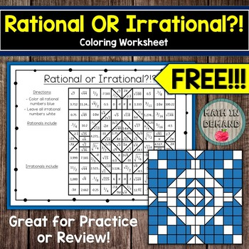 Rational or Irrational Coloring Worksheet FREE