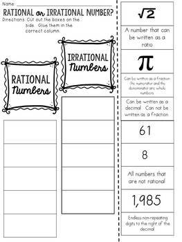 Rational or Irrational Numbers? Cut and Paste Sorting Activity