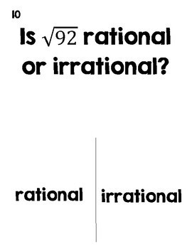 Rational or Irrational Numbers Trick or Treat Halloween Activity