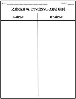 Rational vs. Irrational Card Sort