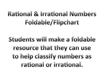 Rational vs Irrational Numbers Foldable