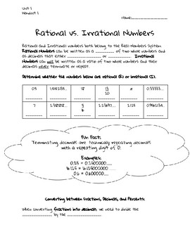 Rational vs. Irrational Numbers Guided Notes