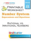 Rational vs. Irrational Numbers Printable Worksheet, Grade 8
