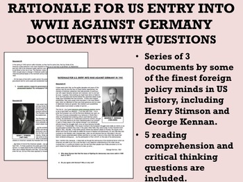 Rationale for US Entry into WWII Against Germany - Documents with Questions