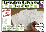 Rationalizing the Denominator Tick or Trash Printable