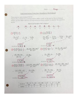 Rationalizing Complex/Imaginary Numbers Worksheet