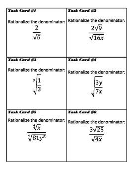 Rationalizing Radical Expressions Task Cards