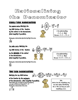 Rationalizing the Denominator - Notes and Practice