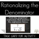 Rationalizing the Denominator Task Card Activity
