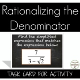 Rationalizing the Denominator Task Card Activity