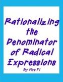 Radical Expressions - Rationalizing the Denominator- Task Cards
