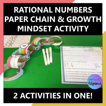 Rationals Classify, Order, and Compare Paper Chain & Growth Mindset Activity