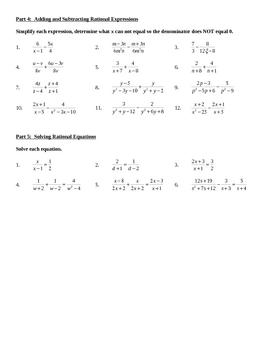 Rationals Unit Test Review - Algebra 2