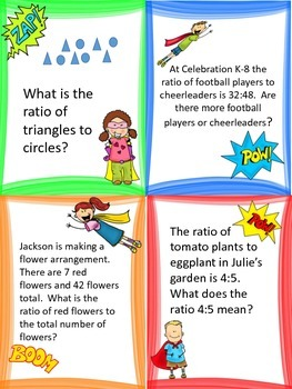 Ratios and Equivelent Ratio: Task Cards