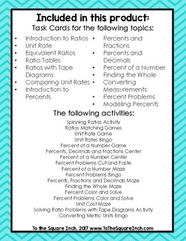 Ratios Activities and Task Cards