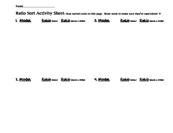 Ratios - Cut and Paste Sorting Activity