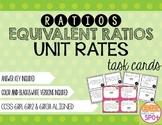 Ratios, Equivalent Ratios & Unit Rates Task Cards CCSS 6.RP.1, 6.RP.2, 6.RP.3a**