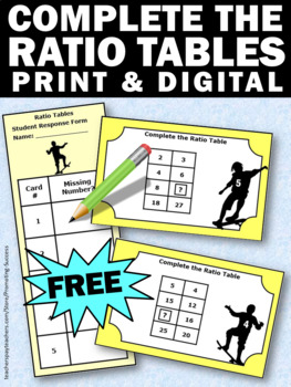 Free Ratios and Proportions Task Cards, Ratio Tables 5th Grade Math Review Games