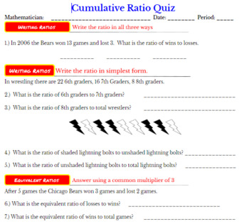 Ratios Introduction Quiz