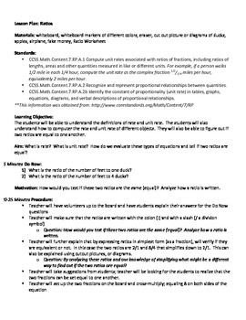 Ratios Lesson Plan and Worksheets