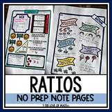 Ratios No Prep Note Pages