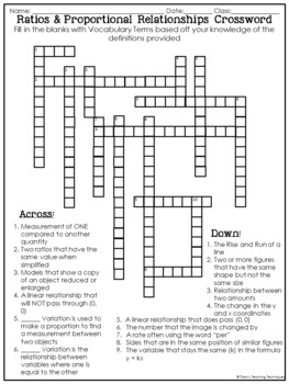 Ratios and Proportional Relationships Crossword Puzzle