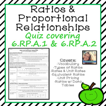 Ratios and Proportional Relationships Quiz for 6.RP.A.1 and 6.RP.A.2