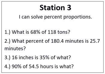 Ratios, Proportions, Fractions, Decimals, and Percents Stations Review and Quiz