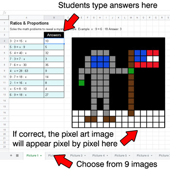 Ratios & Proportions - Google Sheets Pixel Art - Outer Space