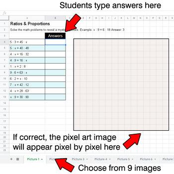 Ratios & Proportions - Google Sheets Pixel Art - Pets