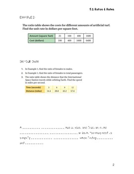 Ratios & Proportions Guided Notes Big Ideas Math Red: 7th Grade Chapter 5