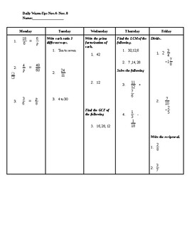 Ratios, Proportions, LCM, GCF, and Fractions